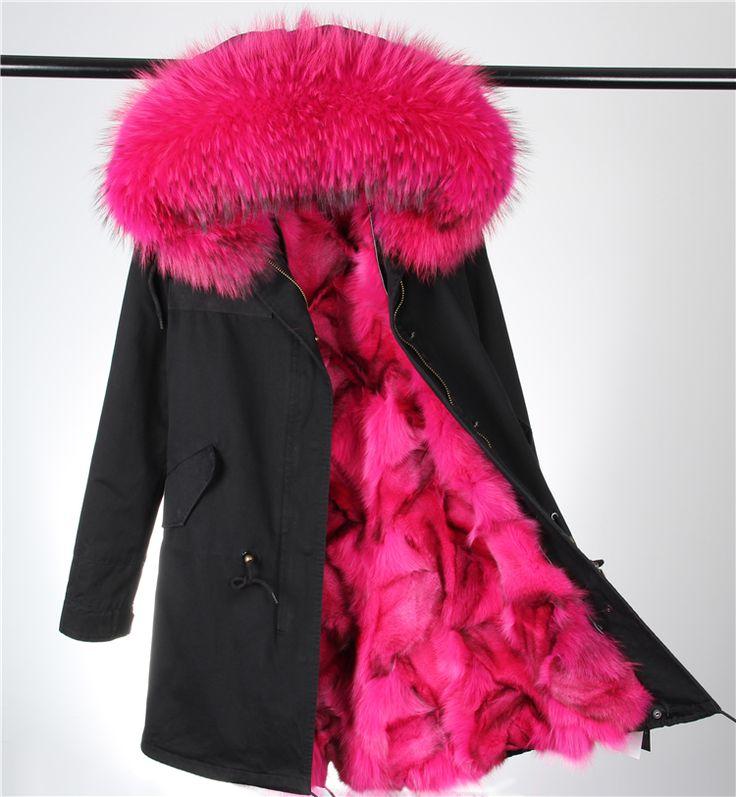 FC060 88 cm büyük rakun kürk hood kış ceket kadın parka doğal gerçek kürk kadınlar için kalın yumuşak astar abrigos de piel m()