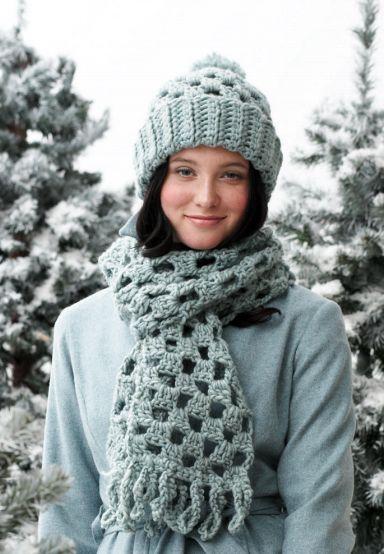 Quick Checkered Scarf and Pom Hat - Free Crochet Pattern ✿Teresa Restegui http://www.pinterest.com/teretegui/✿