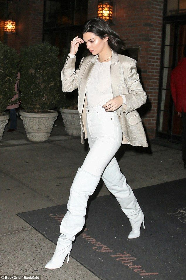All white everything: Kendall Jenner turned a New York City sidewalk into her own personal catwalk on Monday afternoon