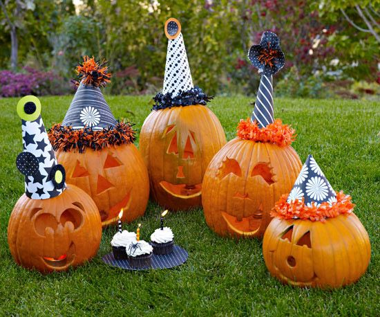 Celebrate Halloween with this gang of grinning pumpkins. Download the party pumpkin face stencils and carve smiling eyes and wide grins.