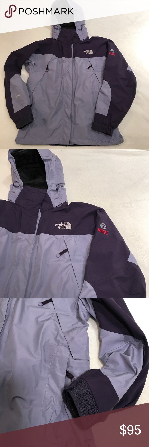 Purple North Face Jacket - Women's Small North Face Jacket. Size small. 2 shades of purple with 2 exterior zip-up pockets & 2 exterior zip-up ventilation slits. Full-zip w/velcro closures. Velcro closures on the sleeves near the wrist as well. Drawstring at the waist & inside of the hood to help you bundle up during colder temperatures. Water-proof & wind resistant Gore-Tex XCR exterior that is 100% Nylon. Versatile and breathable for good mobility when tackling the outdoors. Goes great…