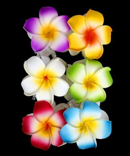 Double Hawaiian Flower Hair Claw Clamp Clip White Yellow Green Blue Purple Pink