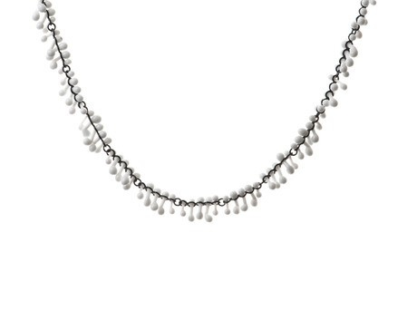 'Loose Glass Necklace' by Kathryn Wardill Oxidised sterling silver, white glass Available online and in store http://egetal.com.au/store/product/KJW450