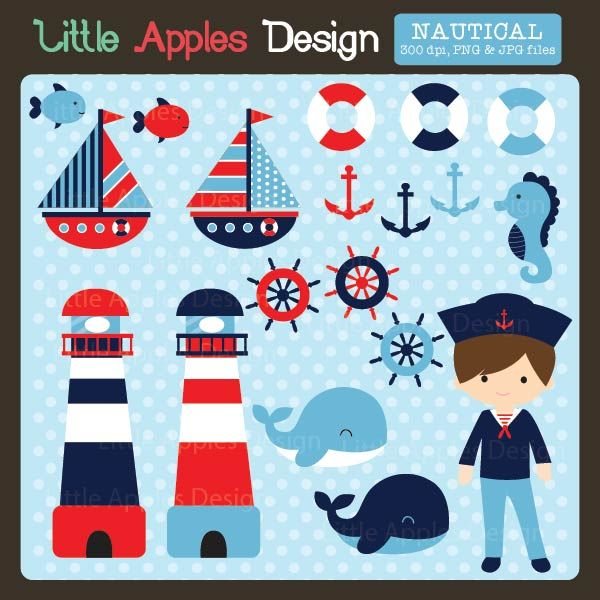 Nautical Clipart - set sail with this fabulous nautical clipart for invitations, scrapbooking, and more.