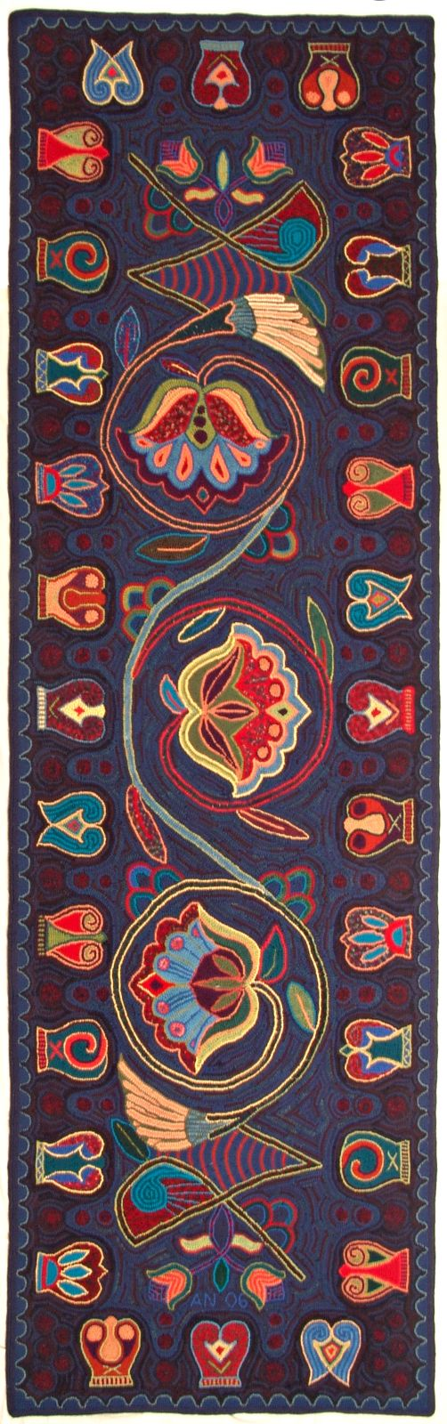 Astrid's Handmade Rugs. 30 square feet  Old Norse inspired floral design.i want this in my house, NOW! Love those colors!