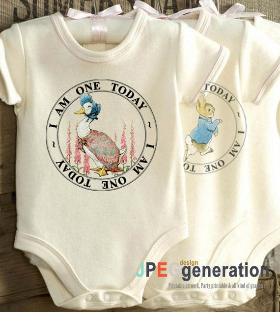 Peter Rabbit  First Birthday IRON ON Decals or  by JPEGgeneration