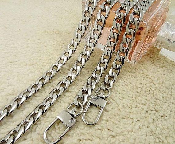 9mm sac Sling chaine sac, bandoulière remplacement chaînes en métal, argent fermoir plaqué embrayage poignée de sac à main en chaîne d'approvisionnement, épaule en fer