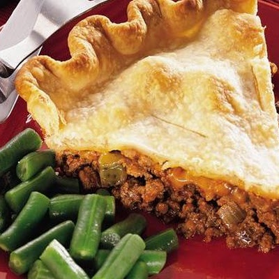Cheeseburger Pot Pie.  This tasted great.  Used 2 lbs of ground beef and about 50% more ketchup & cheese - also added about 3T of mustard and used relish instead of pickles.  It was great!