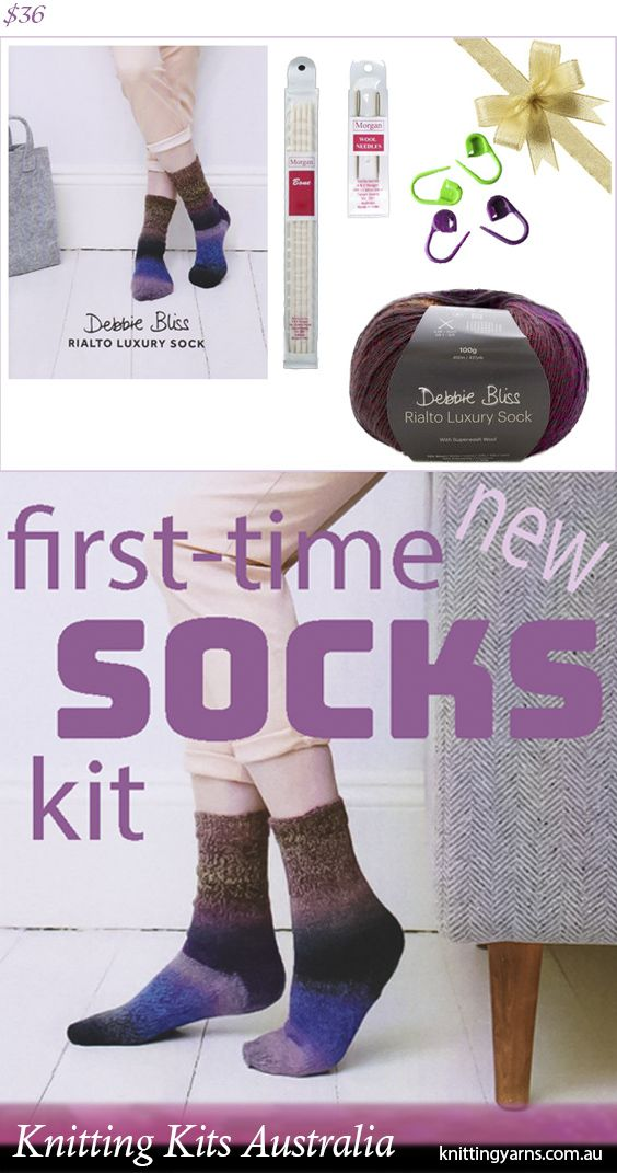 Knit these stunning Debbie Bliss socks, with simple instructions for new sock knitters and all the bits and bobs you'll need to get started inside this Knitting Kits Australia kit. Find more knitting kits in-store now.