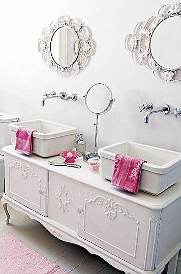 Bathroom Vanity - made from a repurposed buffet with wall-mounted hardware and basin sinks - Brabourne Farm