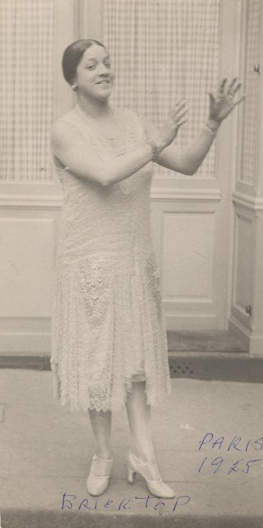 """Ada """"Bricktop"""" Smith (here c. 1925) a vaudeville entertainer and Paris nightclub owner, taught the Charleston to the likes of Cole Porter, F. Scott Fitzgerald and Consuelo Vanderbilt, the one-time Duchess of Marlborough. Bricktop, the daughter of an Irish father and black mother was born in West Virginia but her family later relocated to Chicago where she became aware of saloon life. By 16 she was touring in  vaudeville and relocated to Paris in 1924."""
