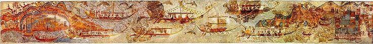 Фреска караван кораблей или флотилия. Из Западного Дома Акротири (Санторини)