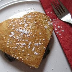 Chocolate Pancake Sandwich - heart-shaped breakfast in bed!