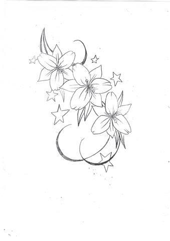 Lily Flowers n Stars Tattoo Design