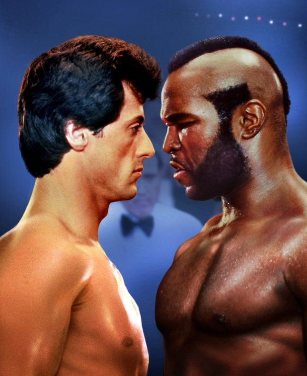 Rocky Balboa (Sylvester Stallone) and Clubber Lang (Mr. T), Rocky III, 1982