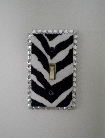 ZEBRA PRINT & BLING Switchplate Zebra Print by LaurieBCreations, $8.00