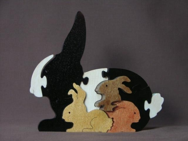 Bunny with Babies Animal Puzzle Wooden Toy Hand Cut with Scroll Saw.