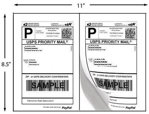 200 Half Sheet Shipping Labels Laser/Inkjet USPS UPS Fedex