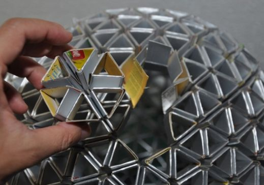 Luminária de Tetra Pak - Arte Reciclada