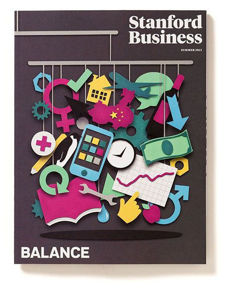 Summer 2013 issue of the redesigned Stanford Business magazine by Pentagram. Cover illustration by Owen Gildersleeve.