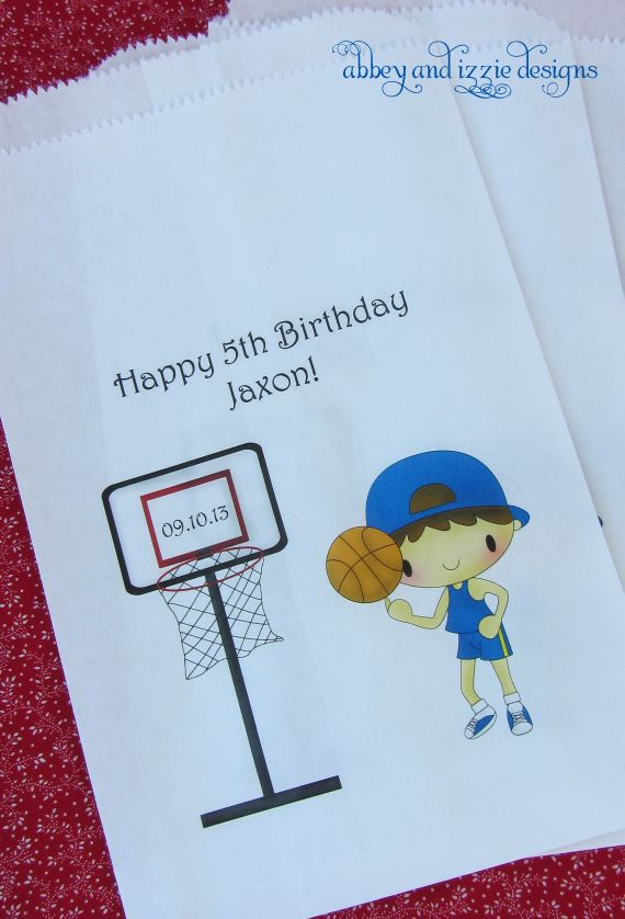Basketball Party favors,  Basketball Party, Boys Birthday, Favor Bags, Candy Bags,  by abbey and izzie designs