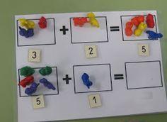 "Simple mat idea for practical addition & demonstration of number sentences - from El Rincón De Matematicas En Educación Infanti ("",)"