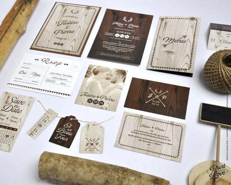 faire part mariage nature rustique bois texture original - Wedding Planner Mariage Mixte