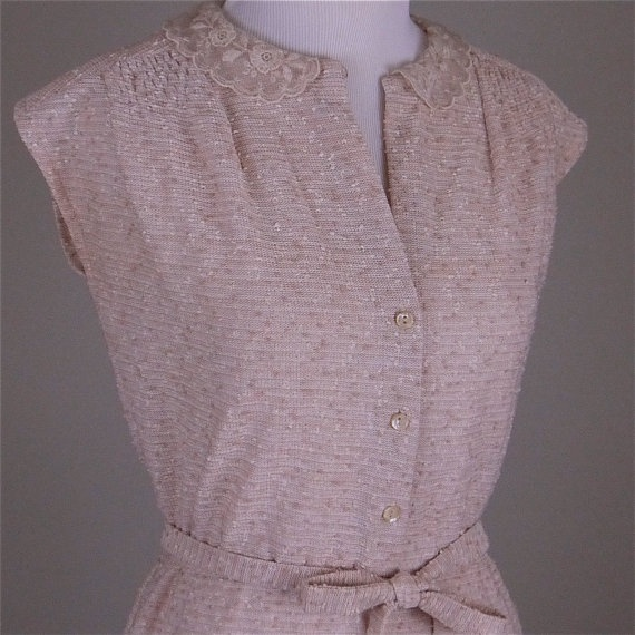 1970s Beige Boucle Dress with Lace Peter Pan Collar