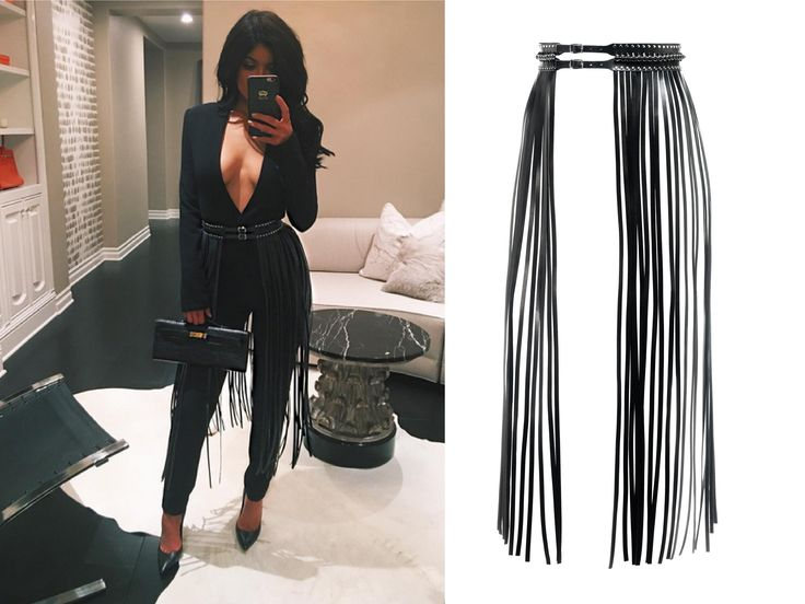 YVY - Kylie Jenner wearing YVY`s  leather Fringe Belt -  http://yvy.ch/product/1001-fringe-belt/