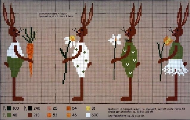 trucos precioso del corazón: Punto de Cruz: Una divertida colección de liebres de pascua