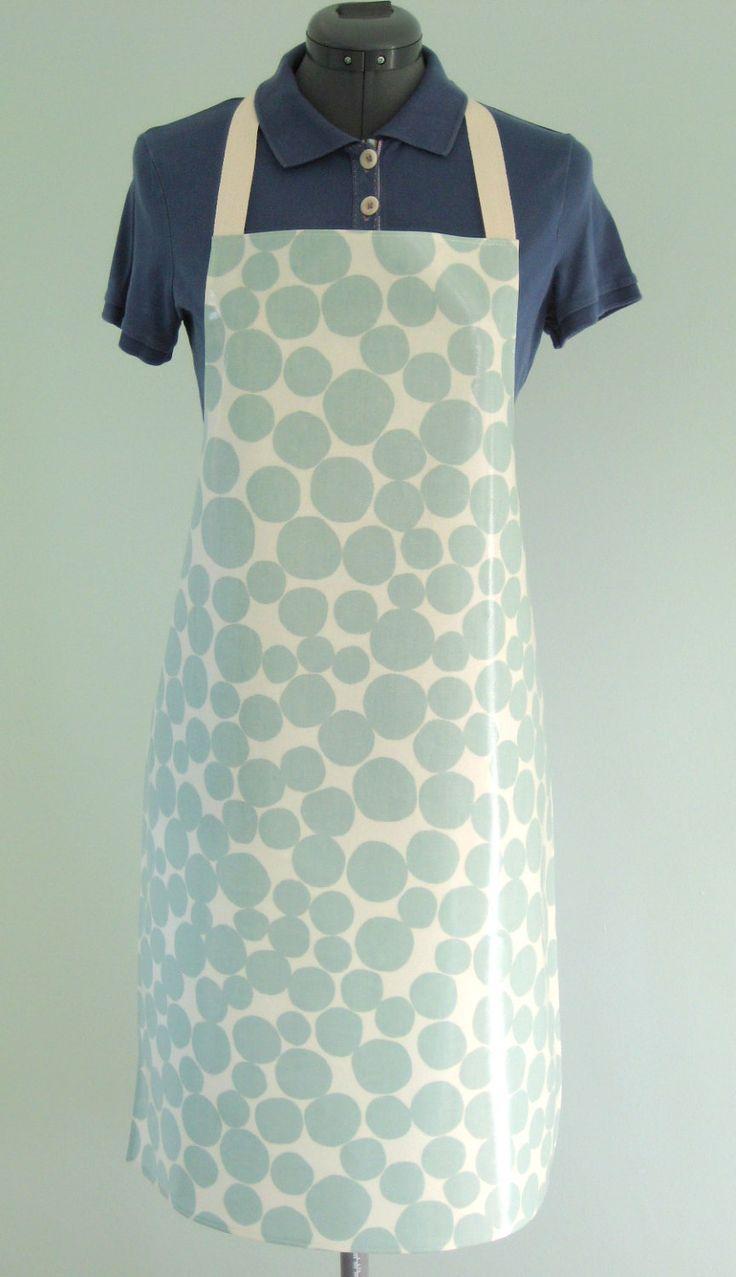 White apron ireland - Pale Mint Pebble Print Adult Pvc Apron Glossy Oilcloth Apron Waterproof Apron