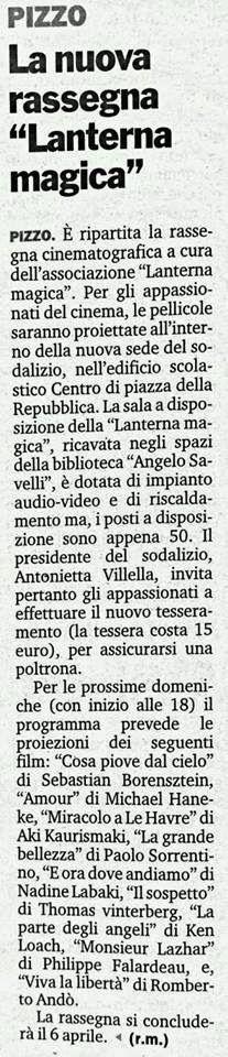 """Pizzo: 20140129.Pizzo.La nuova rassegna """"Lanterna magica""""..."""