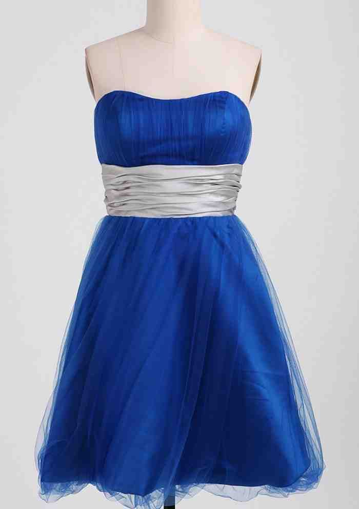 Royal Blue And Silver Bridesmaid Dresses