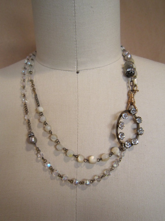 Vintage crystal and mother of pearl rosaries with by susanruppel1, $80.00