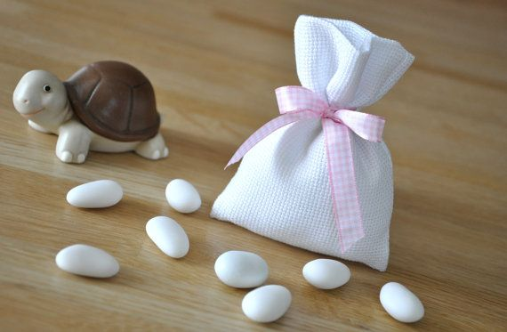 cotton baby girl christening favour bag by manufattofattoamano, €3.50