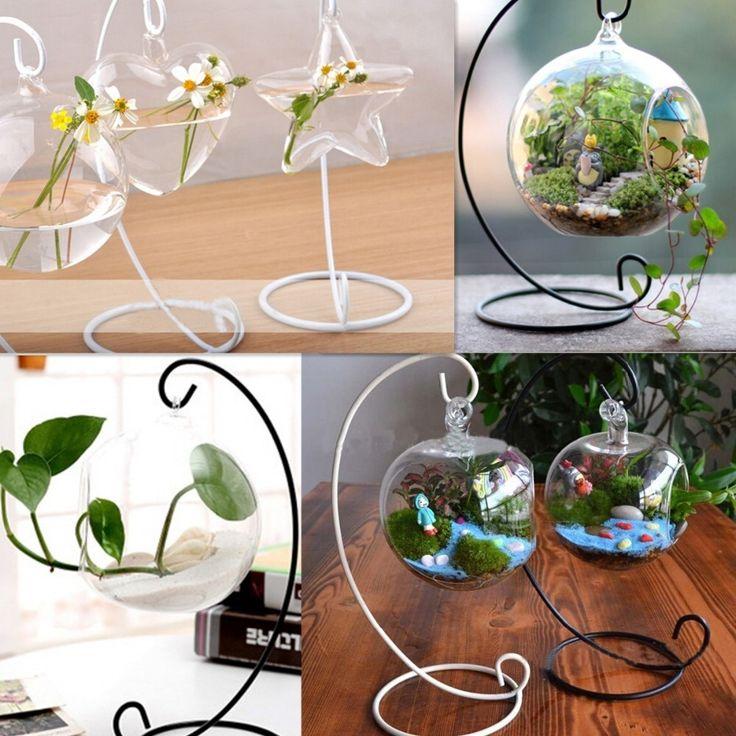 1Pcs Wholesale Semicircle Iron Shelf Micro Landscape Bottle Glass Ball Hanging Bracket Stand Rack Hook Hanger DIY Cabin Hook