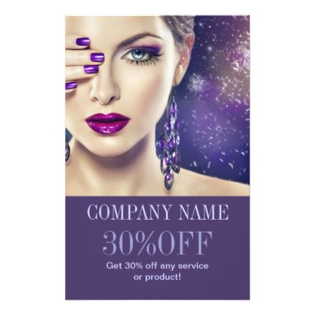 Fashion purple nails beauty salon makeup artist flyer for 101 beauty salon