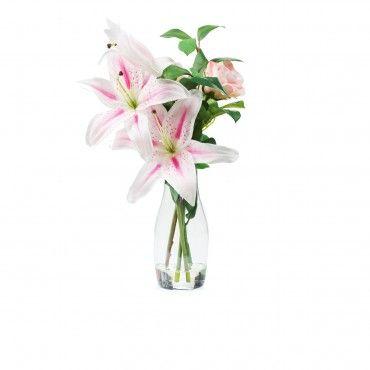Gigli e rose in vaso di vetro - QVC Italia