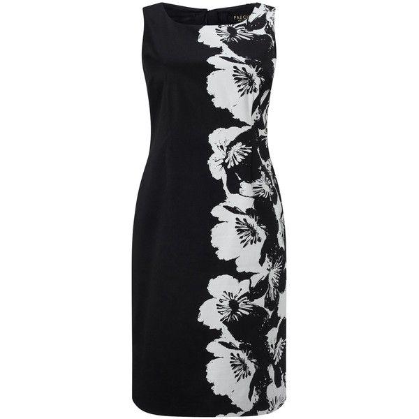 Precis Petite Floral Shift Dress, Black/White (115 BAM) ❤ liked on Polyvore featuring dresses, petite, cotton maxi dress, sleeveless maxi dress, shift dress, sleeved maxi dress and floral dresses
