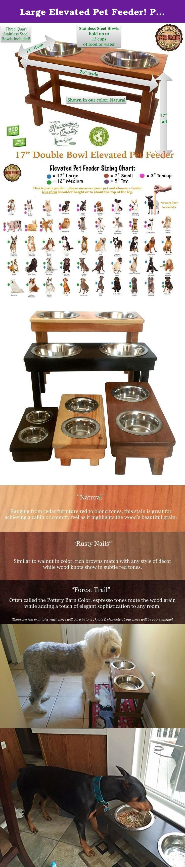 """Large Elevated Pet Feeder! Pet Safe/Ultra Durable Finish! 100% Non-Toxic & Eco-Friendly Raised Dog Bowls! Order by Noon Central time (M-F) & we ship the same day - Check out our delivery chart. In Stock!! We make pet feeders from 3"""" tall to 17"""" tall! Search """"Ozarks Fehr Trade Originals"""" on Amazon to see all our sizes and options! Our stains & finishes are natural ingredients! Natural & Safe, even if your pet eats or licks the finish Allergen Free! Gluten Free! Non-toxic, Kid & Pet…"""