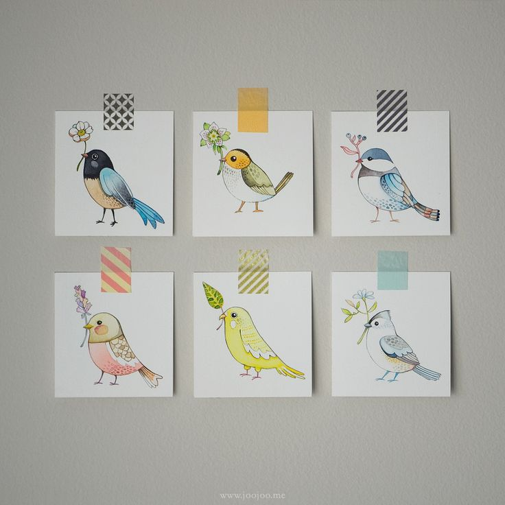 Sweet bird illustrations.  These would look cute in a kid's room.