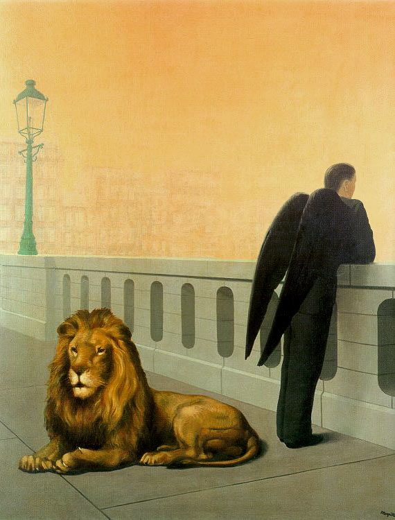 René Magritte, Homesickness, 1940 MAGRITTE speaks to my dream spaces. I cherish the emptiness concealing all meaning.