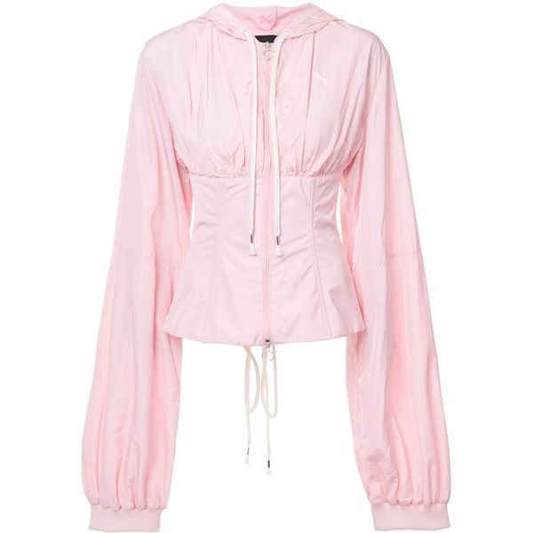 Fenty X Puma corset windbreaker jacket ($2,200) ❤ liked on Polyvore featuring activewear, activewear jackets, puma sportswear, lace up waist cincher corset, front lace corset, pink corset and cincher corset