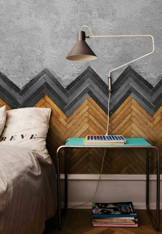 Chevron pattern wall interior.
