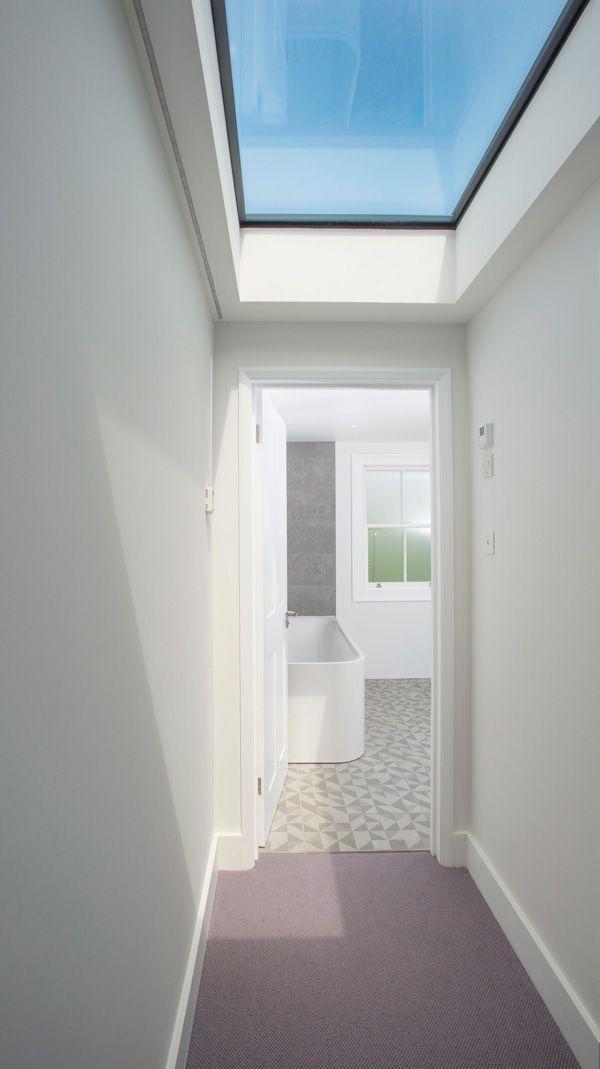 Loft conversion in Highbury, N5. Loft bathroom, bathroom design ideas, loft conversion designs, sky light, Velux roof light
