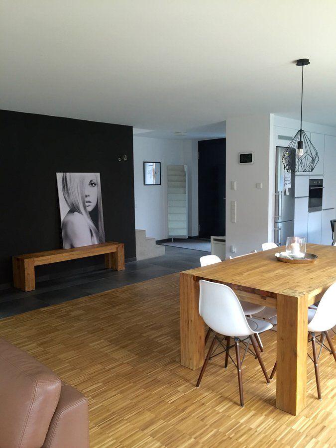 Schwarz Weiss Holz Beton Wohnen Kuche Holzboden Industrieparkett