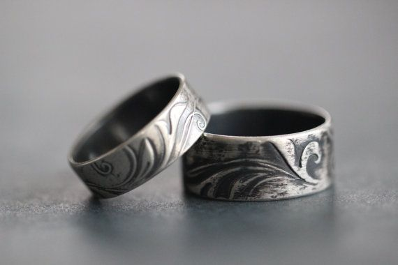 sterling silver botanical embossed wedding bands