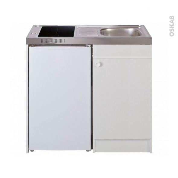 Kitchenette Induction Meuble Sous Evier Blanc Avec Refrigerateur L100 X H93 X P60 Cm Sokleo Oskab Meuble Sous Evier Evier Blanc Kitchenette