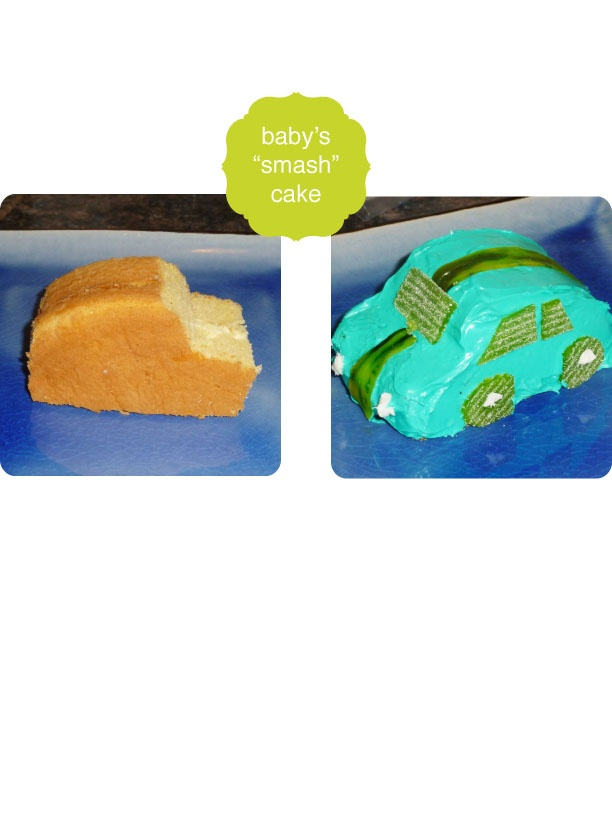 "Baby's first birthday cake—a miniature race car that he got to ""smash"" and eat. Based off of: http://www.bhg.com/recipe/race-car-cakes/"