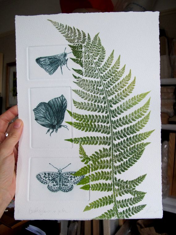 Butterflies and fern. Drypoint and mono print. Lynn Bailey(UK)